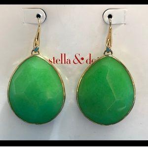 Stella and Dot serenity jade green drop earrings
